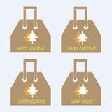 Einkaufstaschesammlung Orange und grüne abstrakte Weihnachtsbäume, die Wörter frohe Feiertage, guten Rutsch ins Neue Jahr, heirat Stockfotos