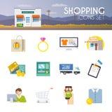 Einkaufsvektor-Ikonensatz Lizenzfreies Stockbild