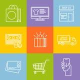 Einkaufsvektorlinie Ikonensatz Stockfotografie