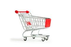 Einkaufswagen auf Weiß Lizenzfreie Stockfotos