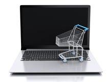Einkaufswagen 3D auf weißem background Lizenzfreie Stockfotografie