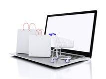 Einkaufswagen 3D auf weißem background Stockbilder