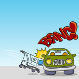 Einkaufswagen, der Auto beschädigt Lizenzfreies Stockfoto