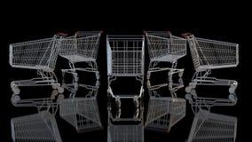 Einkaufswagen gegen Schwarzes Stockfotografie