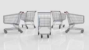Einkaufswagen gegen Weiß Stockbilder