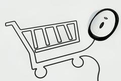 Einkaufswagen gezeichnet mit Mäusedraht Lizenzfreie Stockfotos