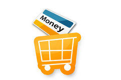 Einkaufswagen met Creditcard Royalty-vrije Stock Afbeelding