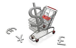 Einkaufswagen mit Dollar Stockfotos