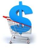 Einkaufswagen mit einem Dollar Stockbilder