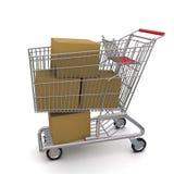 Einkaufswagen mit Kästen Lizenzfreie Stockbilder