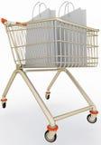 Einkaufswagen mit Papiertüten Lizenzfreie Stockfotos