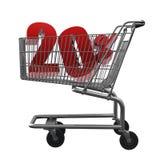 Einkaufswagen mit rotem Rabatt Stockbild