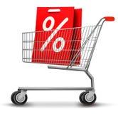 Einkaufswagen mit Verkaufs-Einkaufstasche Stockbild