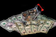 Einkaufswagen und Geld Lizenzfreie Stockbilder