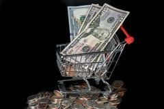 Einkaufswagen und Geld Stockbild