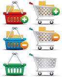 Einkaufswagen und Korb-Ikonen stockfoto