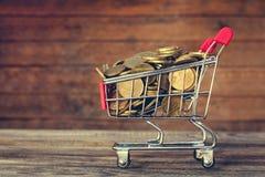 Einkaufswagen und Münzen Stockbild
