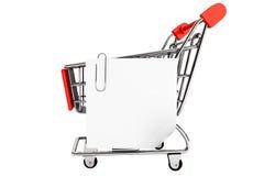 Einkaufswagen und Papieranmerkungsliste Lizenzfreies Stockbild