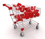 Einkaufswagen voll von Rabatten stock abbildung