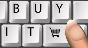 Einkaufswagentastekauf online Stockbilder