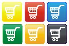 Einkaufswagenweb-Taste Stockfotografie
