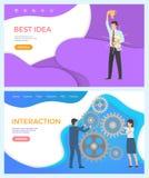 Einkaufswebseiten-Leute-Interaktion Teambuilding vektor abbildung