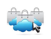 Einkaufswolkenkonzept-Illustrationsdesign Stockbild