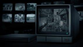 Einkaufszentrum auf CCTV-Monitor stock footage