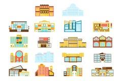 Einkaufszentrum-Gebäude-vereinfachte Außendesign-Satz der Ebene die hellen lokalisierten Farbikonen Lizenzfreie Stockfotos