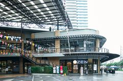 Einkaufszentrum an Kluaynamthai-Straße, Bangkok Thailand, am 16. Dezember 2017 Stockbild