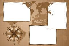 Einklebebuch mit Kompaßrose und Kartenwelt Stockfotos