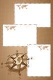 Einklebebuch mit Kompaßrose und Kartenwelt Stockbilder