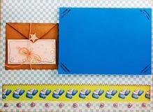 Einklebebuchalbum und Einklebebuchelemente Lizenzfreies Stockbild