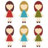 Einklebebuchmädchen in den verschiedenen Kleidern Lizenzfreie Stockfotos