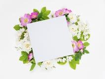 Einklebebuchseite mit wilden Rosen und weißen Blumen Stockfotos