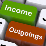 Einkommen Outgoings-Schlüssel-Show-Haushaltsplanung und Buchhaltung lizenzfreie stockbilder