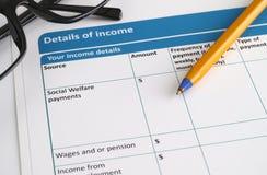 Einkommensdetails Stockfoto