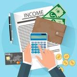 Einkommenskonzept, Hände mit Taschenrechner Stockbild