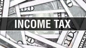 Einkommenssteuer-Nahaufnahme-Konzept Amerikanische Dollar des Bargeld-, Wiedergabe 3D Einkommenssteuer an der Dollar-Banknote Fin stock abbildung