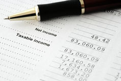 Einkommenssteuer - Rechenetat Stockfoto