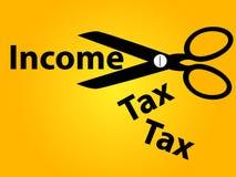 Einkommenssteuersenkungshintergrund Stockbild