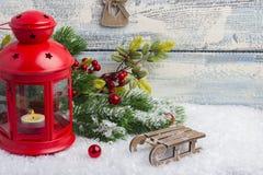 Einladung des neuen Jahres Spielwaren und Dekor Das Thema des neuen Jahres und des Weihnachten Lizenzfreie Stockbilder