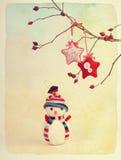 Einladung des neuen Jahres Weinlese-Retro- Art Aquarell gemasert lizenzfreies stockbild