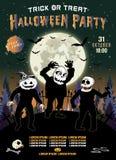 Einladung an eine Halloween-Partei, die drei Zombies, vertikale Illustration Stockfotos