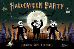 Einladung an eine Halloween-Partei, die horizontale Illustration mit drei Zombies Stockfoto