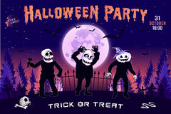 Einladung an eine Halloween-Partei, die horizontale Illustration mit drei Zombies Lizenzfreie Stockfotos