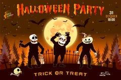 Einladung an eine Halloween-Partei, die horizontale Illustration mit drei Zombies, Plakat Lizenzfreie Stockfotografie