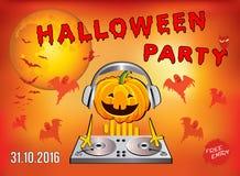 Einladung an eine Halloween-Partei, Kürbis DJ stock abbildung
