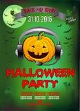 Einladung an eine Halloween-Partei, Kürbis DJ, Illustration vektor abbildung