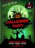 Einladung an eine Halloween-Partei, Kürbis, Illustration, Plakat lizenzfreie abbildung